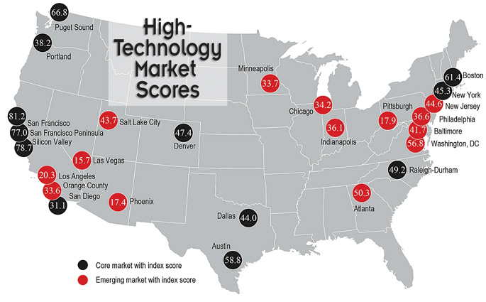 Close Map U S High Tech Markets Core And Emerging Source Jones Lang