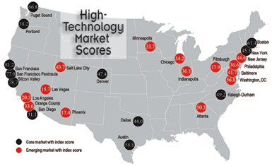 Map: U.S. High-Tech Markets - Core and Emerging; Source: Jones Lang LaSalle United States High-technology Office Outlook 2013