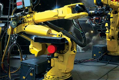 FANUC welding robots at Marlin Steel Wire Products; Credit: David Bohrer/National Association of Manufacturers